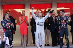 The podium, Red Bull Racing, second; Nico Rosberg, Mercedes AMG F1, race winner; Mark Webber, Red Bull Racing, third