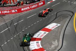 Jules Bianchi, Marussia F1 Team MR02 leads Giedo van der Garde, Caterham CT03