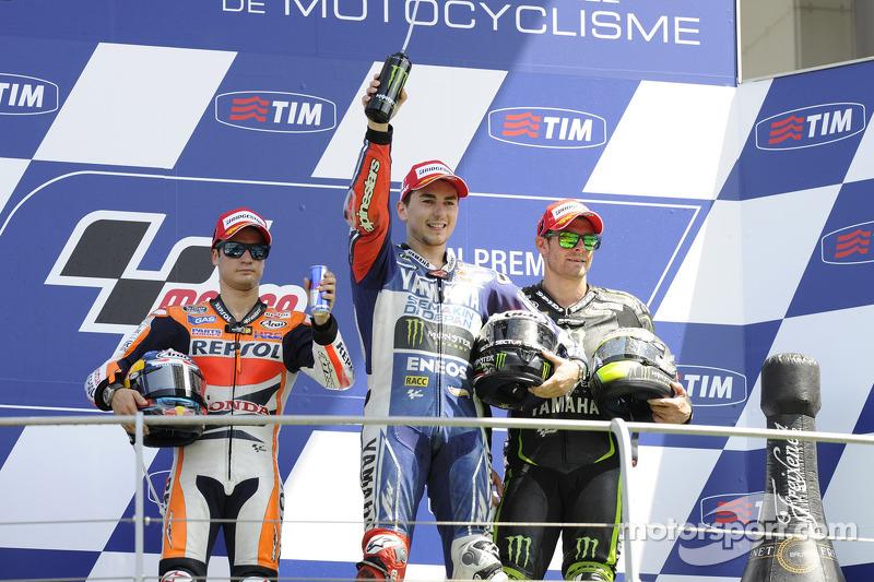 2013: 1. Jorge Lorenzo, 2. Dani Pedrosa, 3. Cal Crutchlow