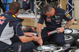 Red Bull Racing mechanics prepare Pirelli tyres