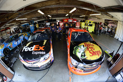 Denny Hamlin and Tony Stewart garage area