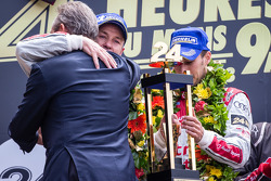 LMP1 podium: Tom Kristensen and Loic Duval with Jacky Ickx