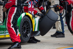 One of many wet to dry tire changes during the race