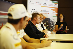 Jordy Cobelens, CEO TW Steel talks at a media call in the Sahara Force India F1 Team motorhome.