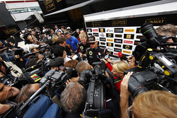 Kimi Raikkonen, Lotus F1 Team with the media.