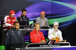 The FIA Press Conference, Ferrari; Mark Webber, Red Bull Racing; Jenson Button, McLaren; Lewis Hamilton, Mercedes AMG F1; Max Chilton, Marussia F1 Team; Paul di Resta, Sahara Force India F1.