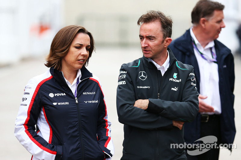 Claire Williams, Adjunct-teambaas Williams met Paddy Lowe, Mercedes AMG F1 Executive Director (Techn