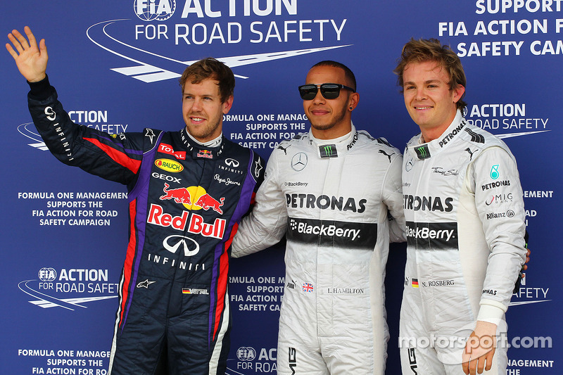The top three qualifiers in Parc Ferme, Red Bull Racing, third; Lewis Hamilton, Mercedes AMG F1, pol