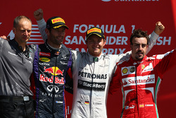 1st place Nico Rosberg, Mercedes AMG F1 W04 with 2nd place Mark Webber, Red Bull Racing and 3rd Fernando Alonso, Ferrari F138