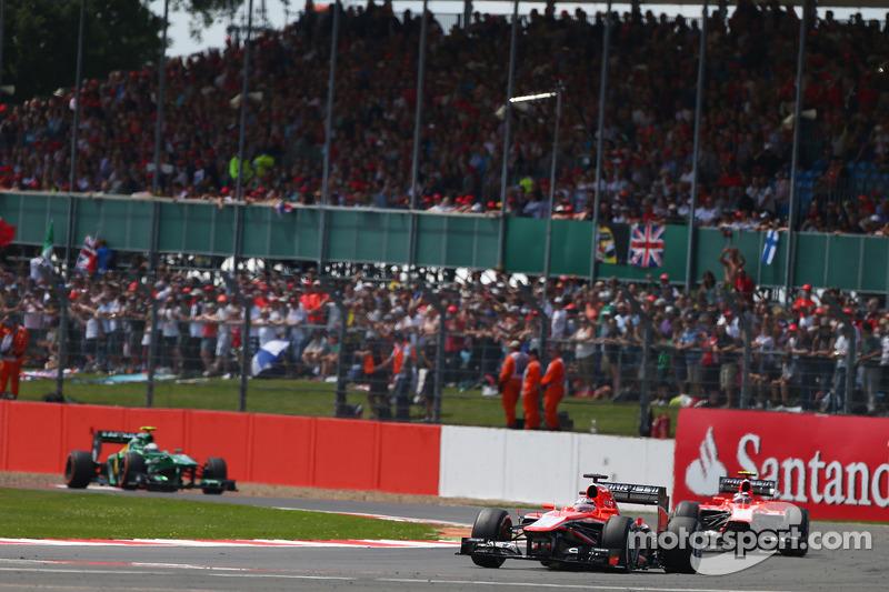 Jules Bianchi Marussia F1 Team MR02 leads team mate Max Chilton Marussia F1 Team MR02