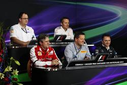 The FIA Press Conference, Sauber F1 Team Head of Track Engineering; Sam Michael, McLaren Sporting Director; Pat Fry, Ferrari Deputy Technical Director and Head of Race Engineering; Paul Hembery, Pirelli Motorsport Director; Paddy Lowe, Mercedes AMG F1 Exe