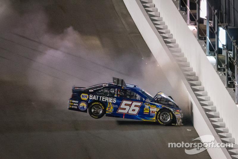 Martin Truex Jr., Michael Waltrip Racing Toyota crashes at Daytona II
