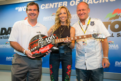 Daytona International Speedway President Joir Chitwood, pre-race concert performing artist Sheryl Crow and guitar designer Sam Bass