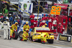 Joey Logano, Penske Racing Ford after crash
