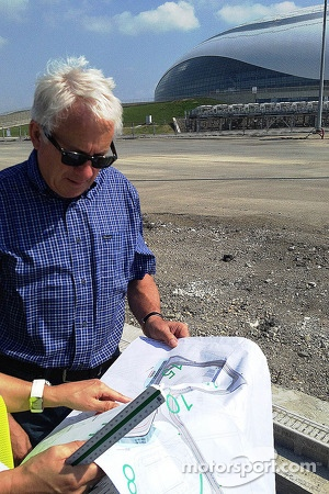 F1 Race Director and safety delegate Charlie Whiting visits construction site of new Sochi circuit