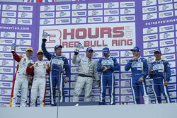 GT podium: winners Johnny Mowlem, Matt Griffin, second place Joel Camathias, Andrea Bertolini, third place Gunnar Jeannette, Frankie Montecalvo