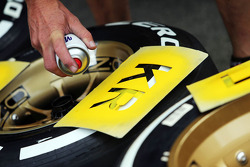 Pirelli tyres marked for Kimi Raikkonen, Lotus F1 Team