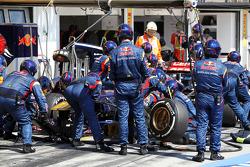 Daniel Ricciardo, Scuderia Toro Rosso STR8 makes a pit stop