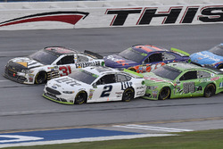 Brad Keselowski, Team Penske Ford, Ryan Newman, Richard Childress Racing Chevrolet, Dale Earnhardt Jr., Hendrick Motorsports Chevrolet, and Denny Hamlin, Joe Gibbs Racing Toyota