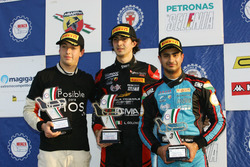 Podium race 3: race winner Lorenzo Colombo, Bhaitech, second place Ian Rodriguez Wright, DRZ Benelli, third place Kush Maini, Jenzer Motorsport