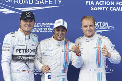 Polesitter Felipe Massa, Williams F1, second place Valterri Bottas, Williams F1, and third placeNico Rosberg, Mercedes AMG