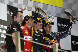 Podium: Eric Boullier, Team Principal, Lotus F1, second place Fernando Alonso, Ferrari,  Race winner Kimi Raikkonen, Lotus GP, third place Sebastian Vettel, Red Bull Racing
