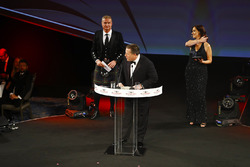 Zak Brown, Executive Director, McLaren Technology Group, on stage with David Coulthard and Lee McKenzie