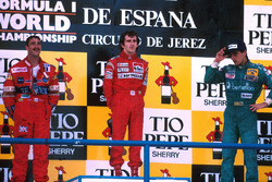 Podium: race winner Alain Prost, McLaren, second place Nigel Mansell, Williams, third place Alessandro Nannini, Benetton