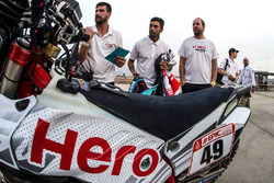 #61 Hero MotoSports Team Rally: Oriol Mena, #49 Hero MotoSports Team Rally: CS Santosh, #26 Hero MotoSports Team Rally: Joaquim Rodrigues