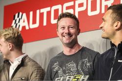 I campioni BTCC Ashley Sutton, Gordon Shedden e Colin Turkington sull'Autosport Stage