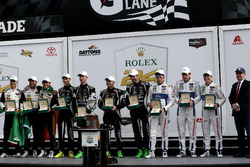 Victory lane all classes: #5 Action Express Racing Cadillac DPi: Joao Barbosa, Filipe Albuquerque, Christian Fittipaldi, #11 GRT Grasser Racing Team Lamborghini Huracan GT3: Rolf Ineichen, Mirko Bortolotti, Franck Perera, Rik Breukers, #66 Ford Performance Chip Ganassi Racing Ford GT: Joey Hand, Dirk Müller, Sebastien Bourdais
