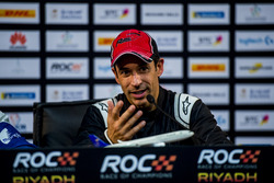 Helio Castroneves of Team Latin America talks in the press conference