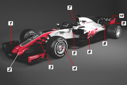 Haas F1 Team VF-18 detail