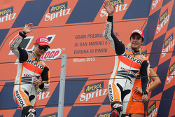 Second place Marc Marquez and third place Dani Pedrosa