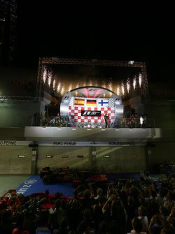1st place Sebastian Vettel, Red Bull Racing, 2nd Fernando Alonso, Ferrari and 3rd place Kimi Raikkonen, Lotus F1 Team