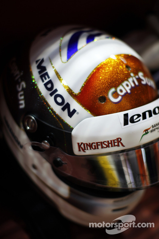 O capacete de Adrian Sutil, Sahara Force India F1