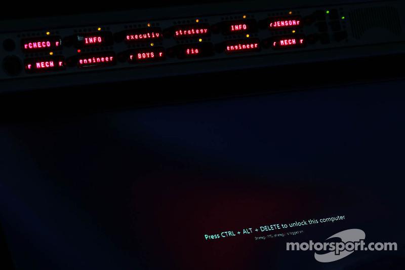 McLaren pit gantry at night