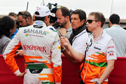 Adrian Sutil, Sahara Force India F1 and Will Hings, Sahara Force India F1 Press Officer with the media
