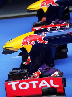 Red Bull Racing RB9s of Sebastian Vettel, Red Bull Racing RB9 and Mark Webber, Red Bull Racing RB9 in parc ferme