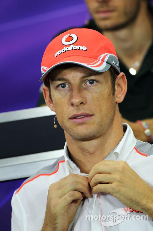 Jenson Button, McLaren bij de FIA-persconferentie