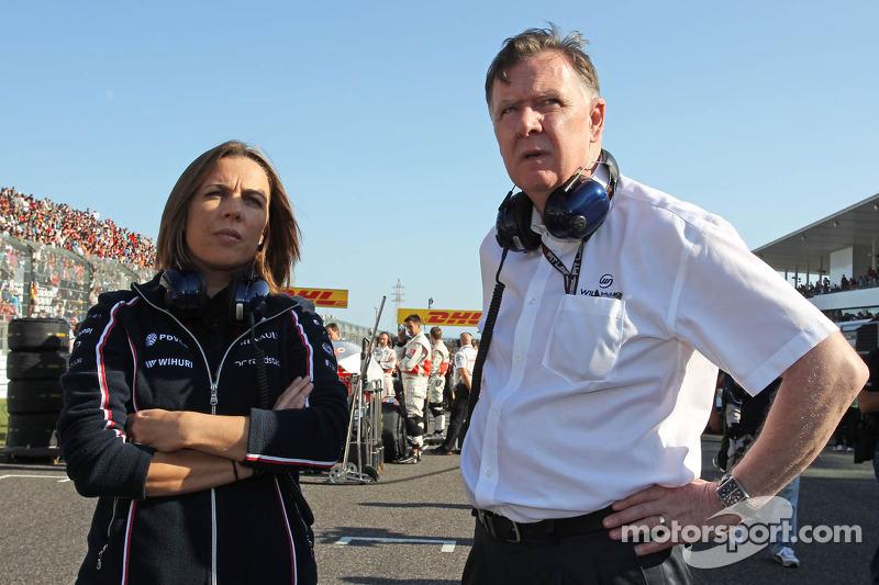 (L naar R): Claire Williams, Adjunct-teambaas Williams met Mike O'Driscoll, Williams Group CEO op de