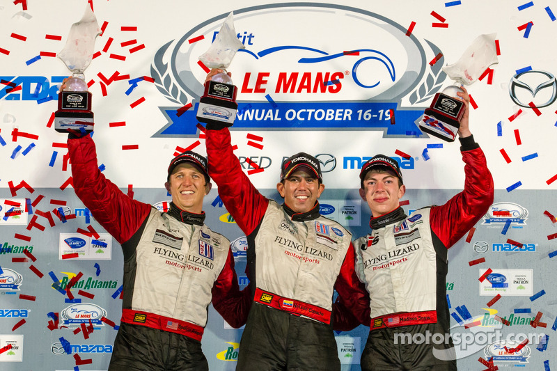 GTC podium: class winners Nelson Canache, Spencer Pumpelly, Madison Snow