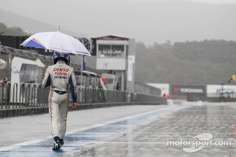 Anthony Davidson nadat de race gestopt werd vanwege hevige regenval