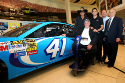 2014 NASCAR Hall of Fame inductee Maurice Petty with Richard Petty and Aric Almirola