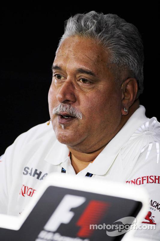 Dr. Vijay Mallya, dono da equipe Sahara Force India F1, na Conferência de Imprensa FIA