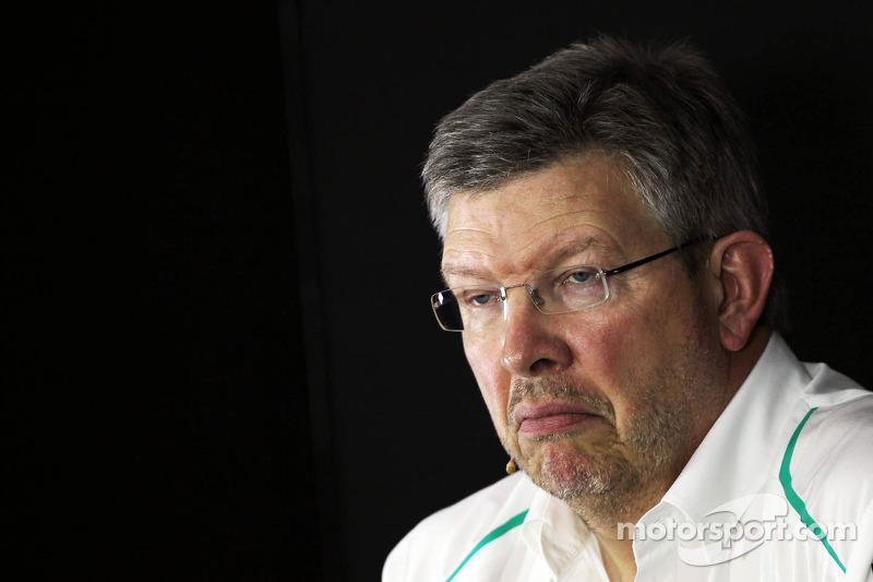 Ross Brawn, jefe de equipo del Mercedes AMG F1 Team, en la rueda de prensa de la FIA