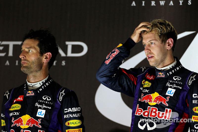 Second place Mark Webber, Red Bull Racing and race winner Sebastian Vettel, Red Bull Racing