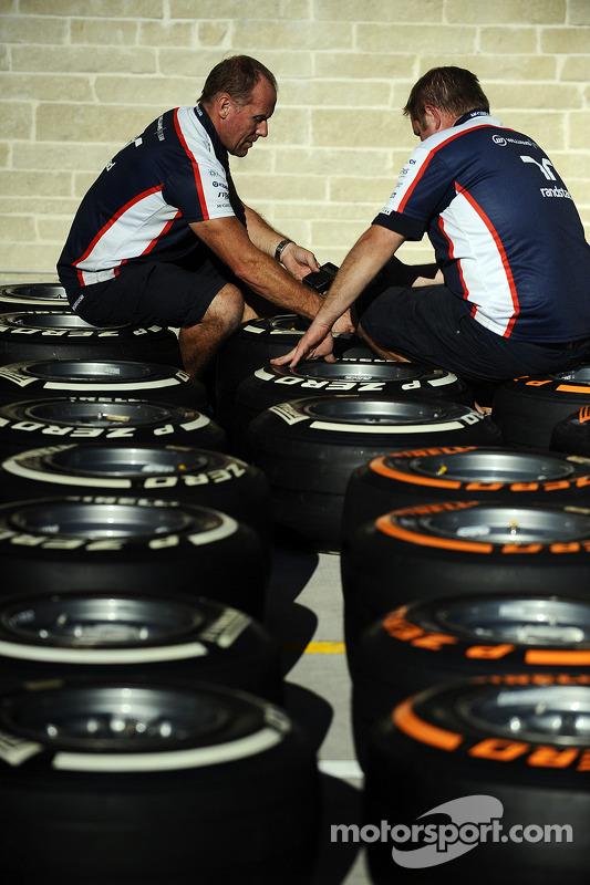 Membro da Williams trabalha nos pneus Pirelli