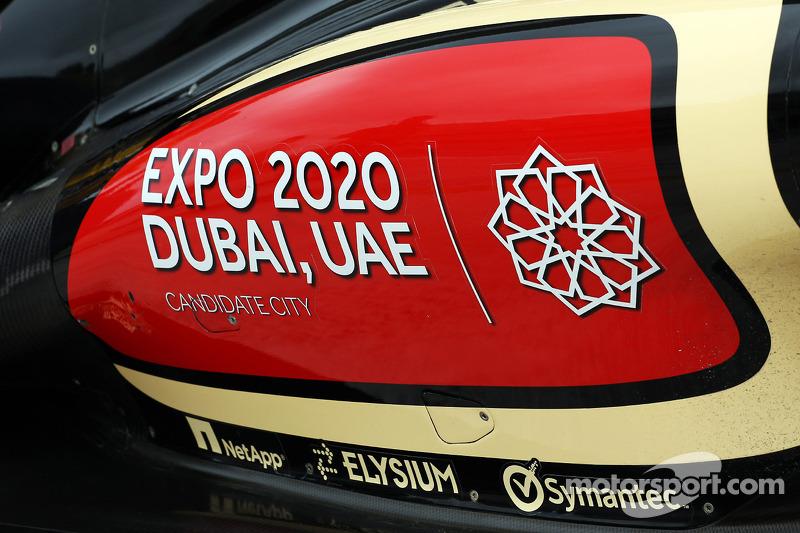 Dubai bid for Expo 2020 branding on the Lotus F1 E21 sidepod