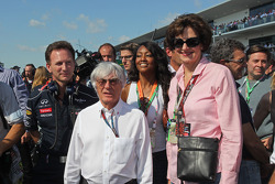 Bernie Ecclestone, CEO Formula One Group, on the grid with Christian Horner, Red Bull Racing Team Principal